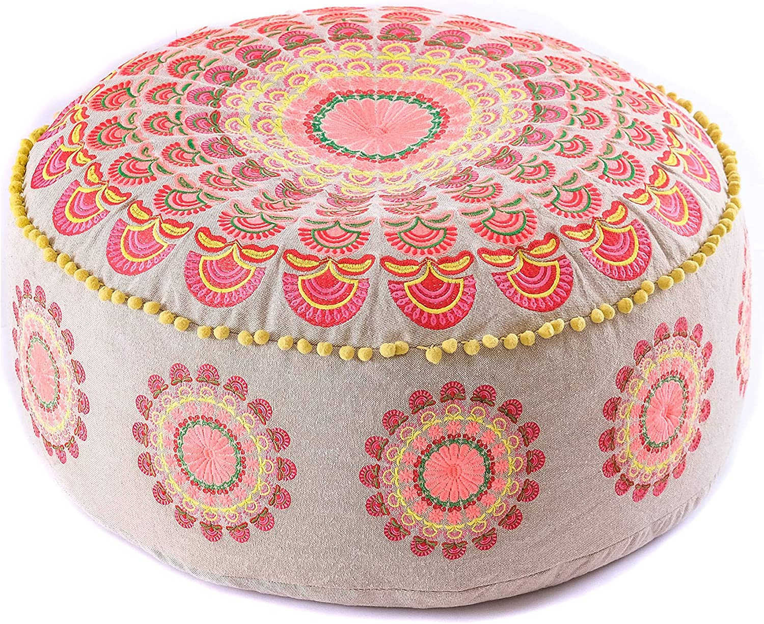 Only Cover Rajasthaniartdecor Round Pouf Cover Yellow Peacock Feather Round Mandala Pouf Cushion Cover Cotton Pouf Cover Seating for Living Dorm Room Size 32 Inches Pouf Cover