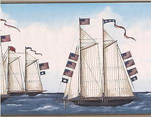 USA American Flags on Sailboats in the Sea Vintage Wallpaper Border Retro Design, Roll 15' x 8.5''