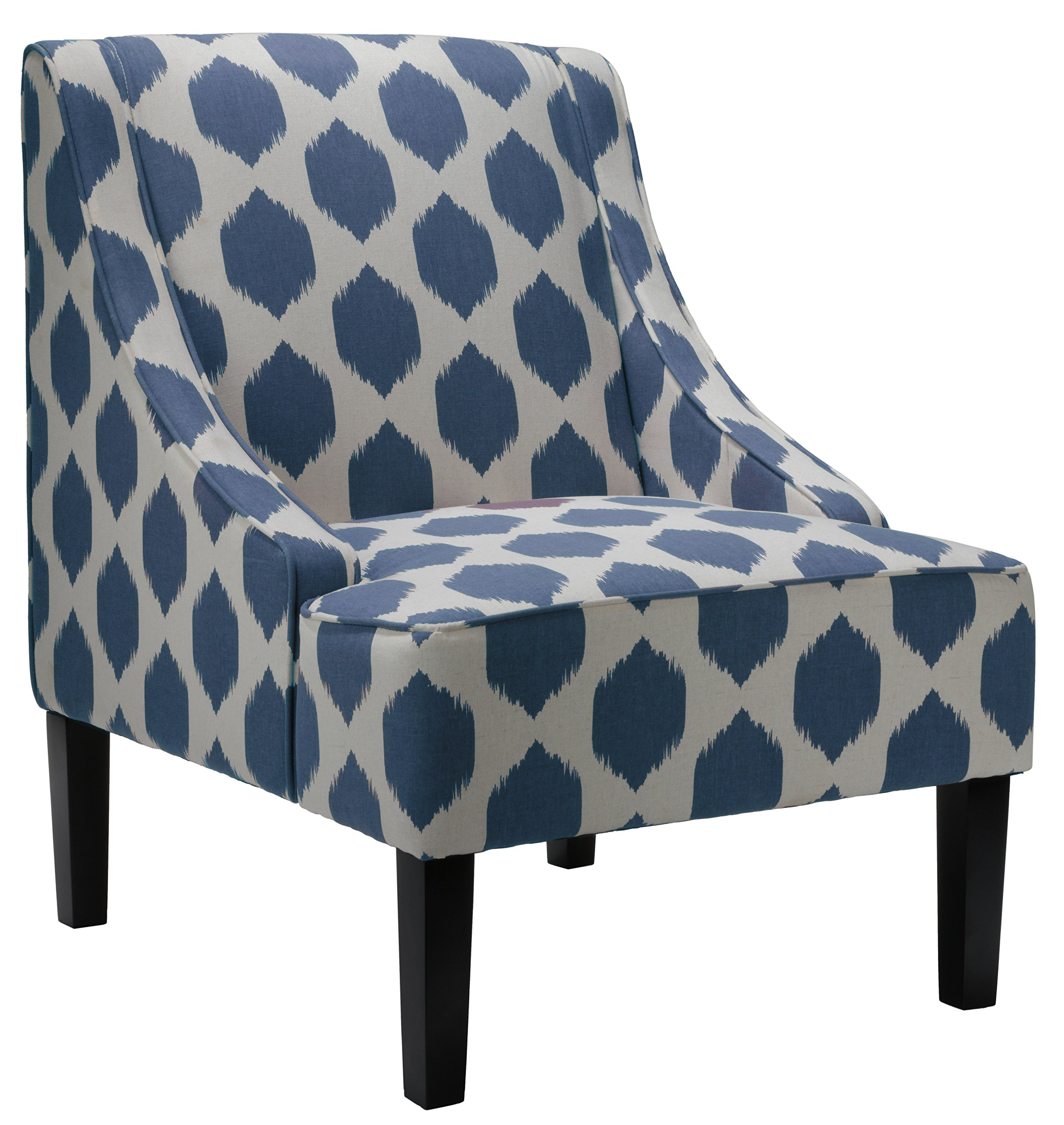 Cortesi Home Celene Accent Chair, Blue - White and blue linen-like fabric Recessed arms Solid wood frame and legs - living-room-furniture, living-room, accent-chairs - 91LHPvO8zPL -