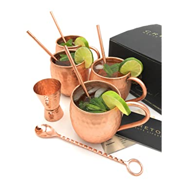 Cretoni Copperlin Pure Copper Hammered Moscow Mule Mugs Set of 4 with BONUS - Handcrafted 16 oz MUGS WITH 4 Copper Straws, Hammered Jigger & Twisted Bar Spoon - The Ultimate Gift set!