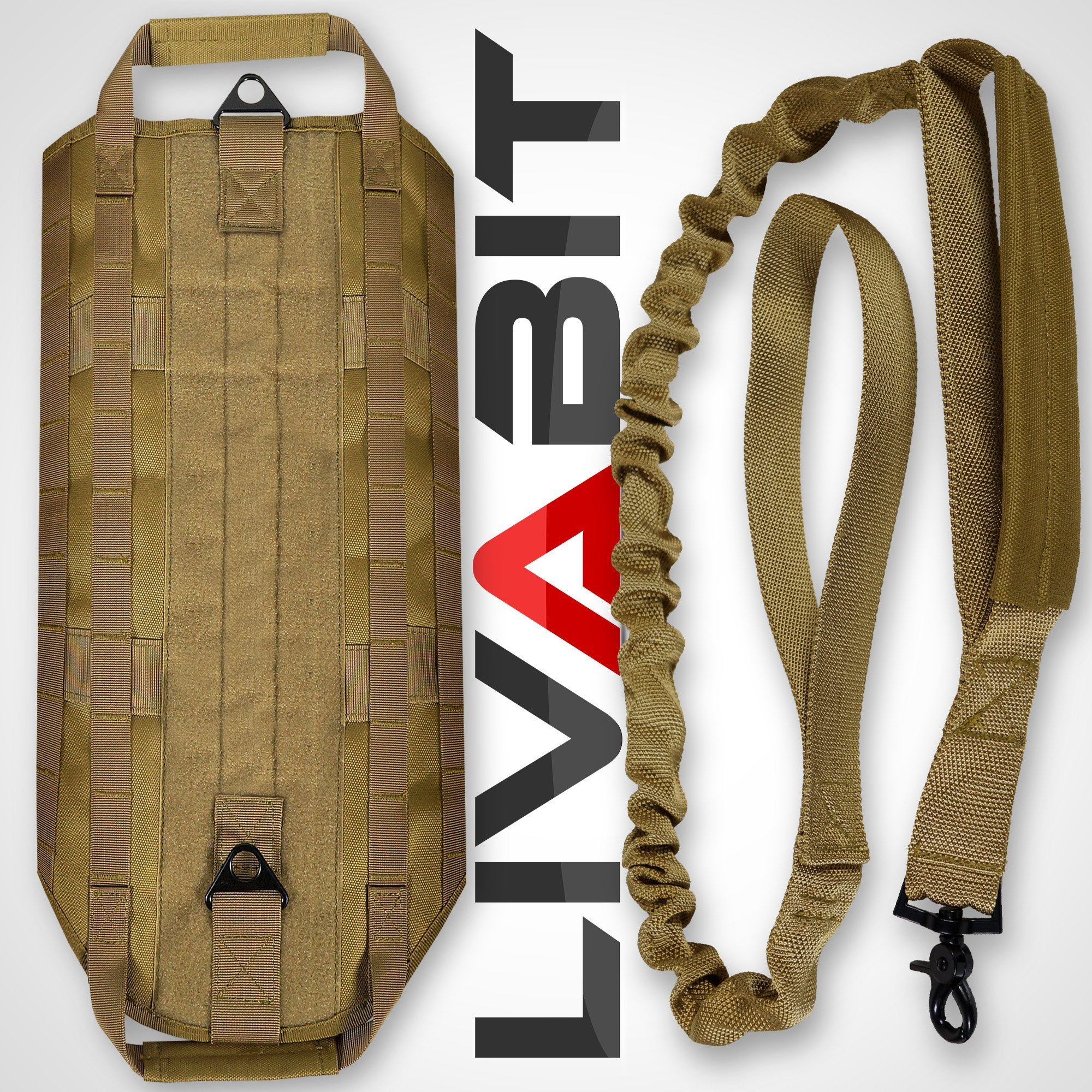 LIVABIT [ Tan ] Canine Service Dog Tactical Molle Vest Harness + Morale PVC Patches + Matching Heavy Duty Bungee Leash Strap Medium