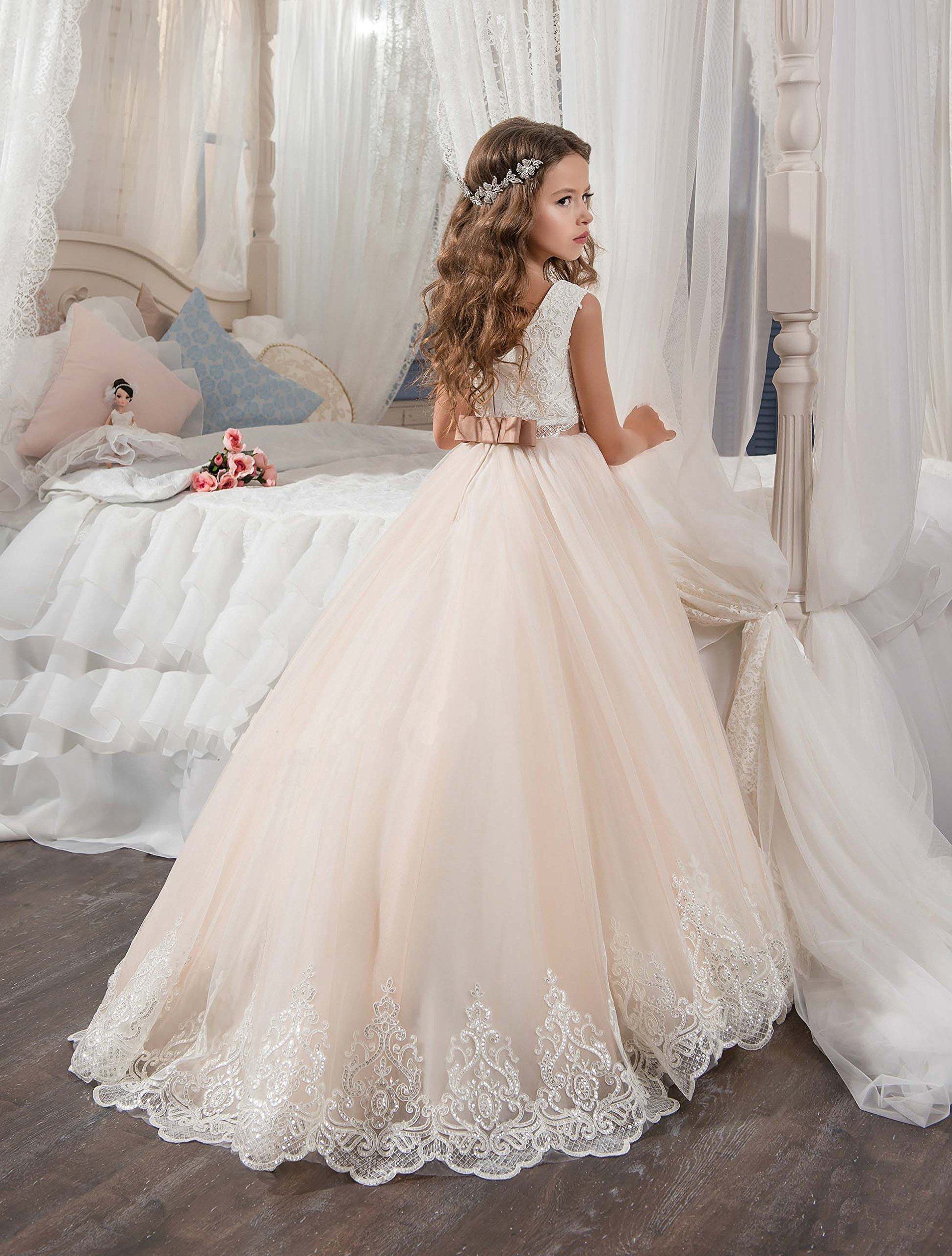 KissAngel Ivory Long Lace Flower Girl Dresses Champagne Less Party Dress (2, Ivory &Champagne) by KissAngel (Image #3)