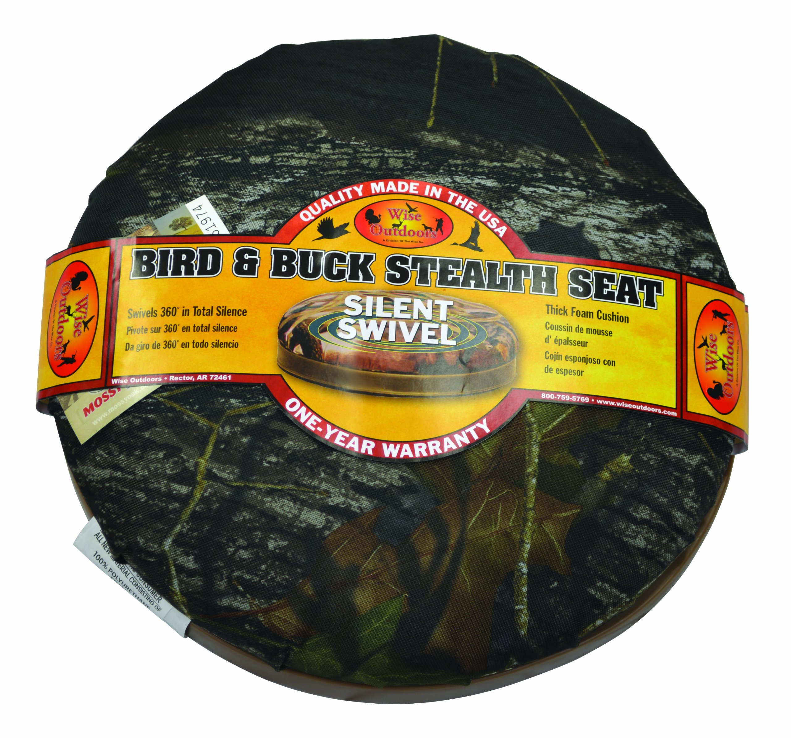 Wise Outdoors Silent Swivel Seat, Mossy Oak Break-Up Camouflage