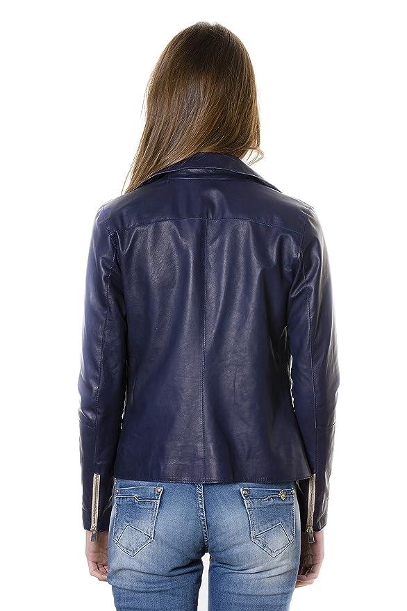 Amazon.com: ELIS Color azul Chaqueta de piel de cordero ...