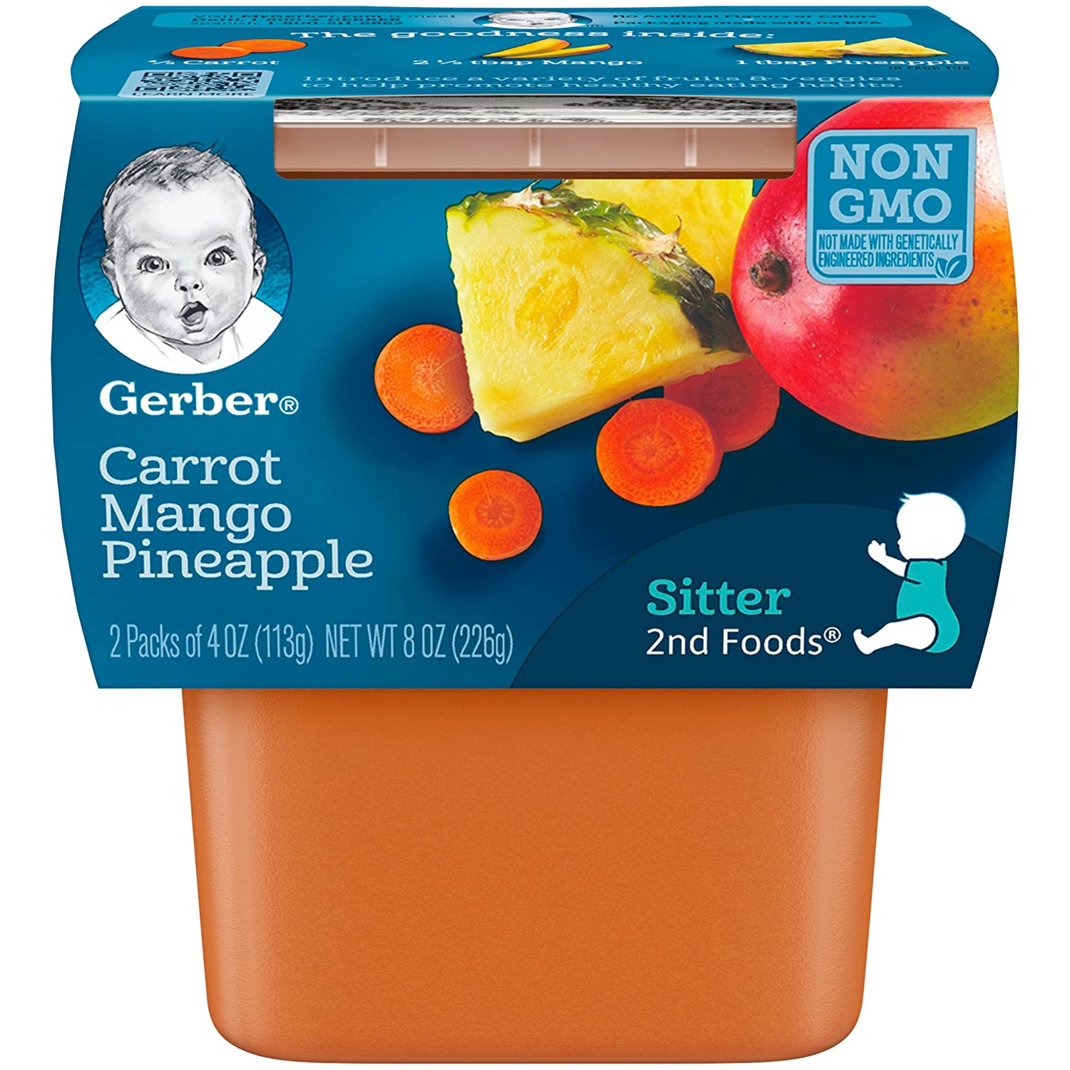 Gerber 2nd Foods, Carrot, Mango & Pineapple Pureed Baby Food,4 Ounce (Pack of 16)