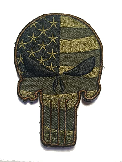Amazon com : Embroidered Us Punisher Skull Flag Multicam Woodland