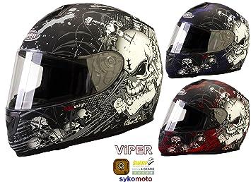 Viper RS de 250 cráneo Integral casco moto 4 estrellas Racing Viaje Crash Casco Morte Plata