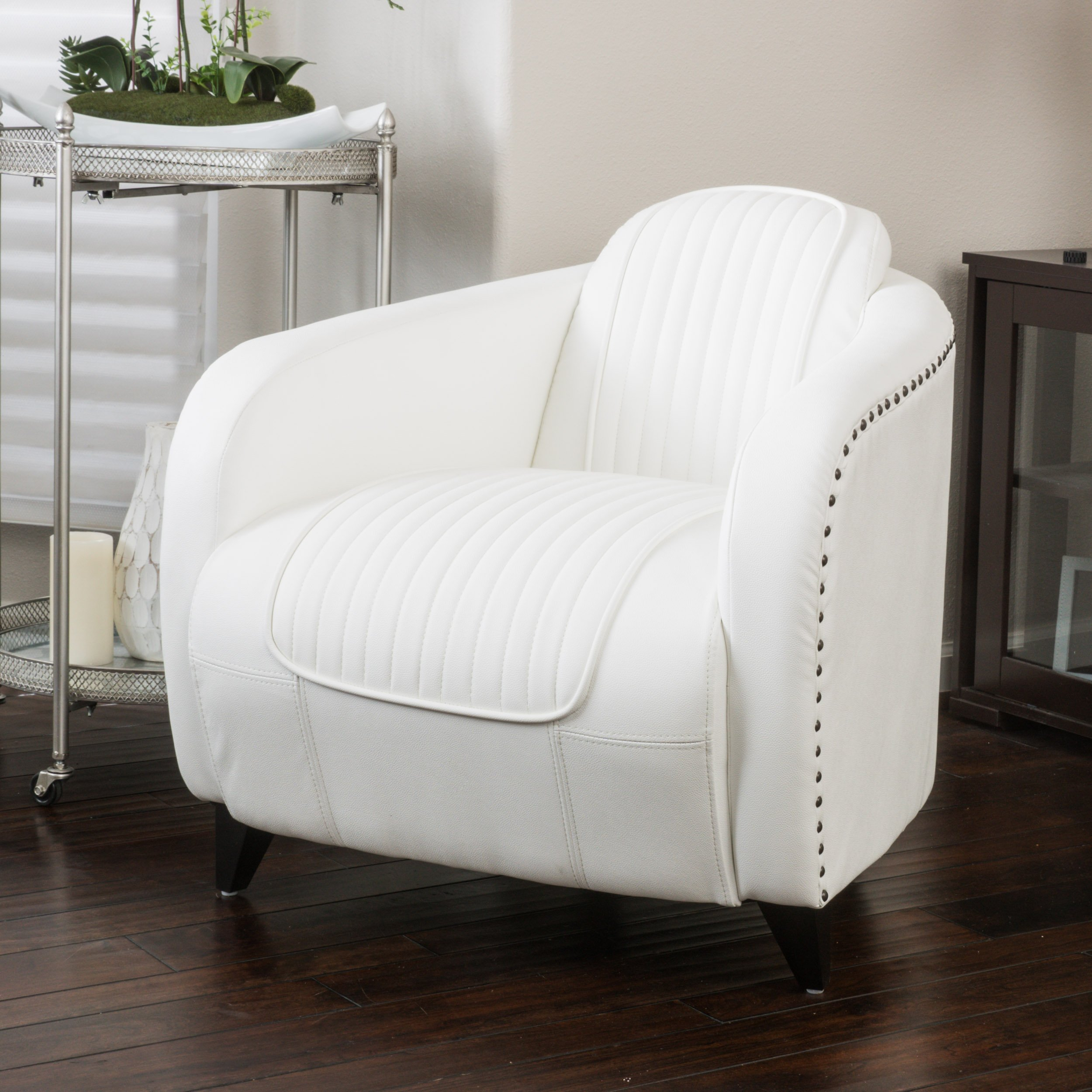 Christopher Knight Home Lemay Channeled White Leather Club Chair by Christopher Knight Home