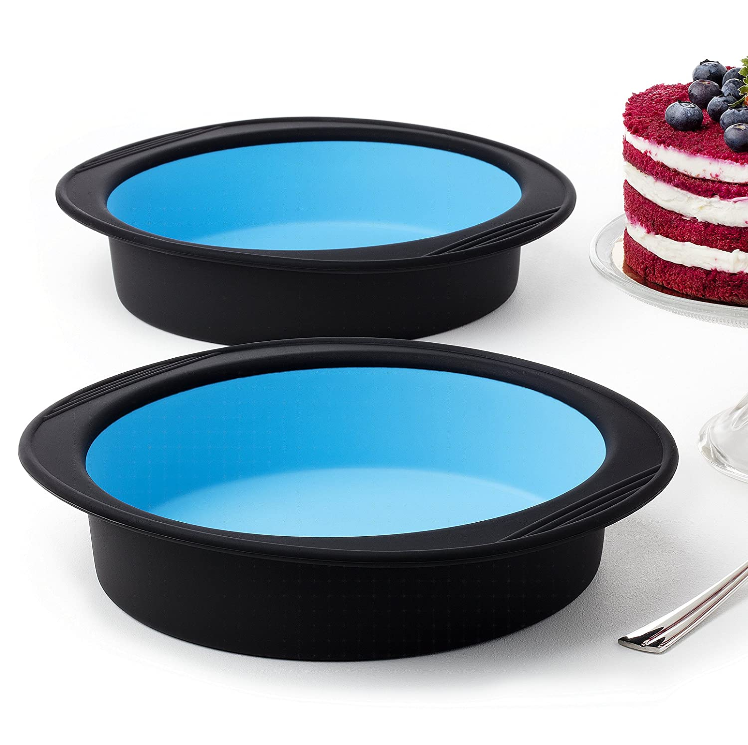 Pack of 2 Big Round Cake Pie Tart Black and Blue Silicone Mold Pans - Thick Silicone