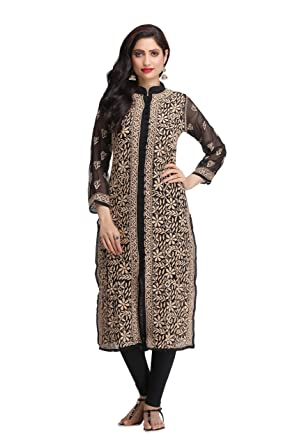 927d8bf61 ADA Fully Embroidered Lakhnavi Chikan Faux Georgette Kurti Kurta Party wear  A159700