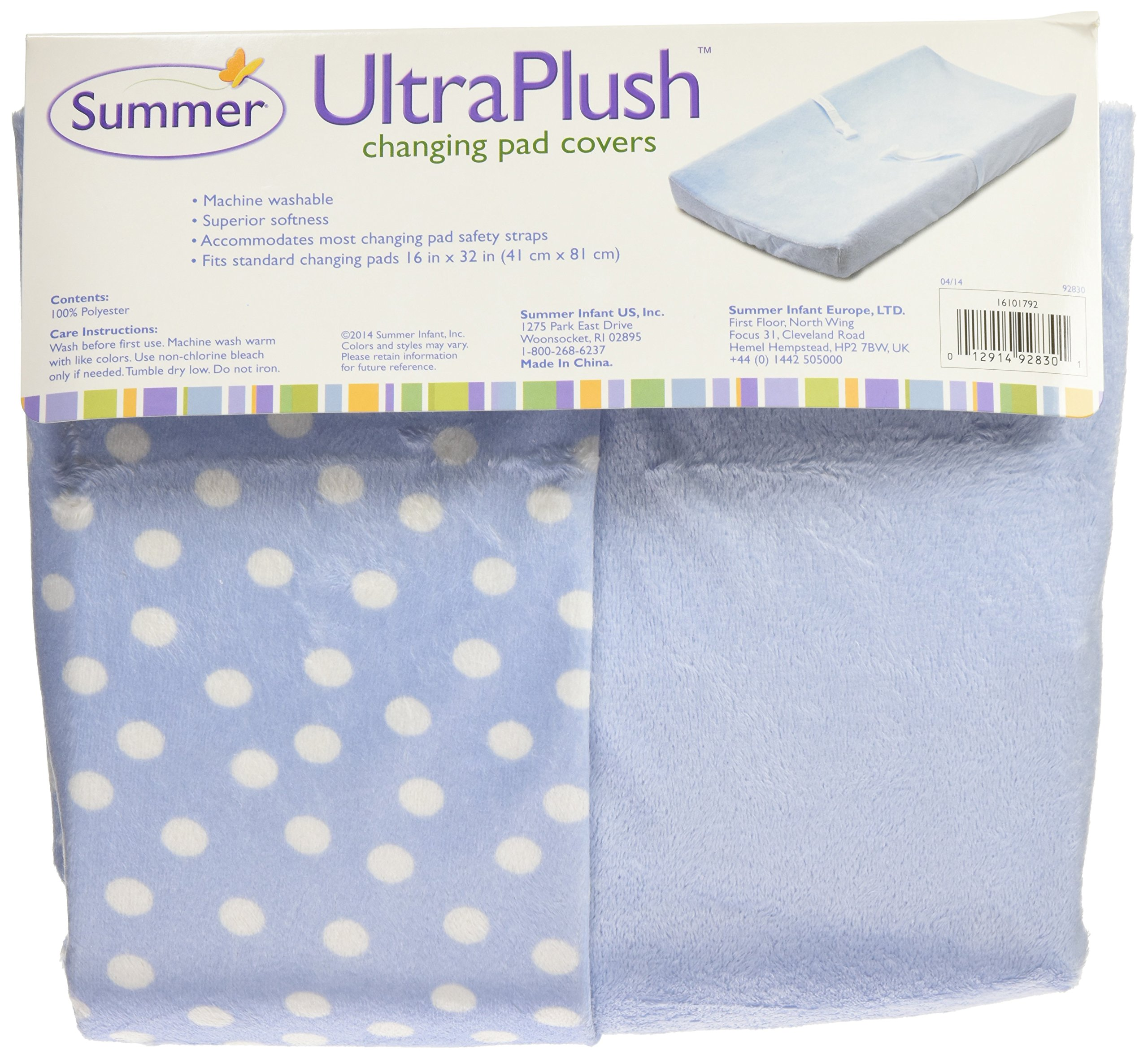 Summer Infant Ultra Plush Changing Pad Cover 2-Count, Blue & Polka Dot by Summer Infant (Image #5)