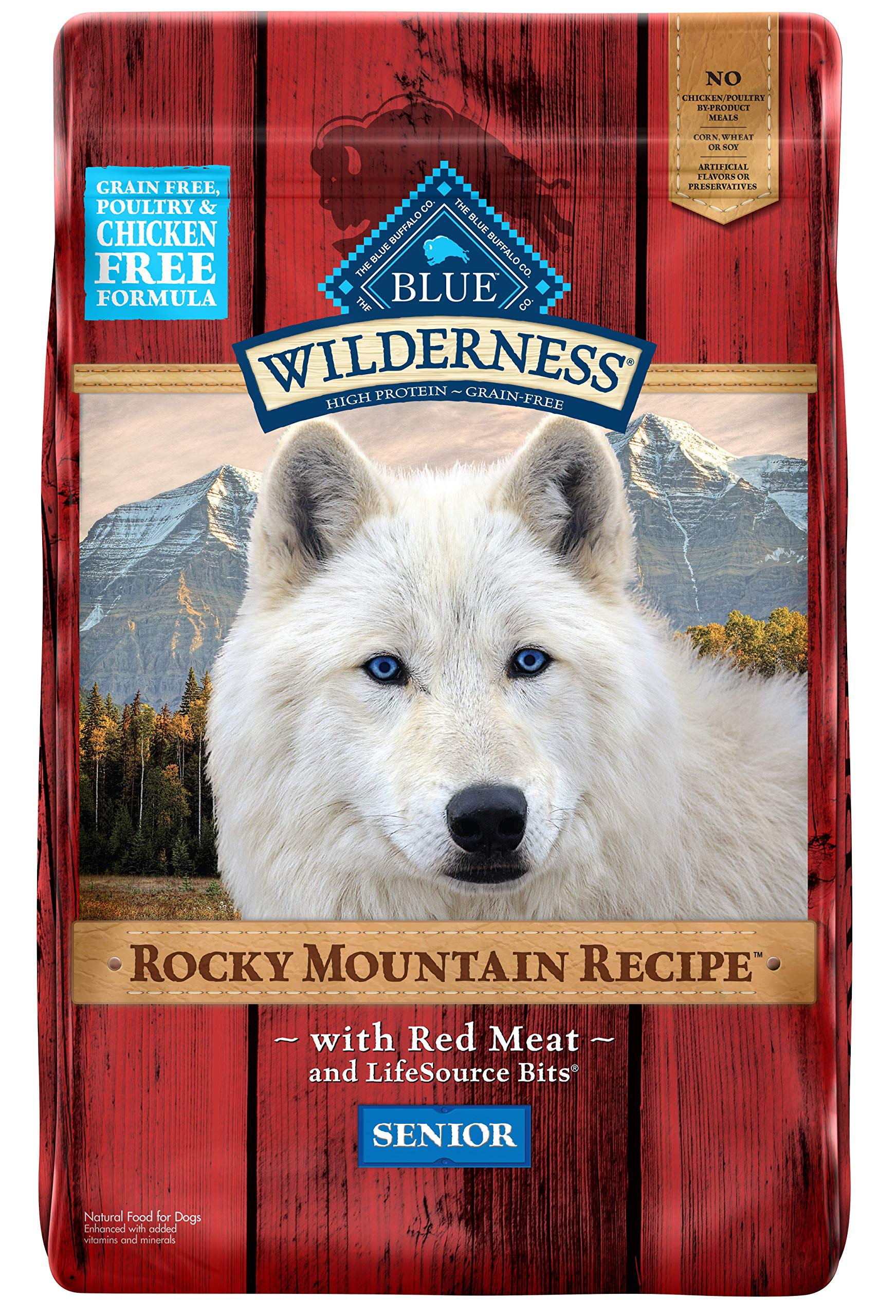 Blue Buffalo Wilderness Rocky Mountain Recipe High Protein Grain Free, Natural Senior Dry Dog Food, Red Meat 22-lb by Blue Buffalo