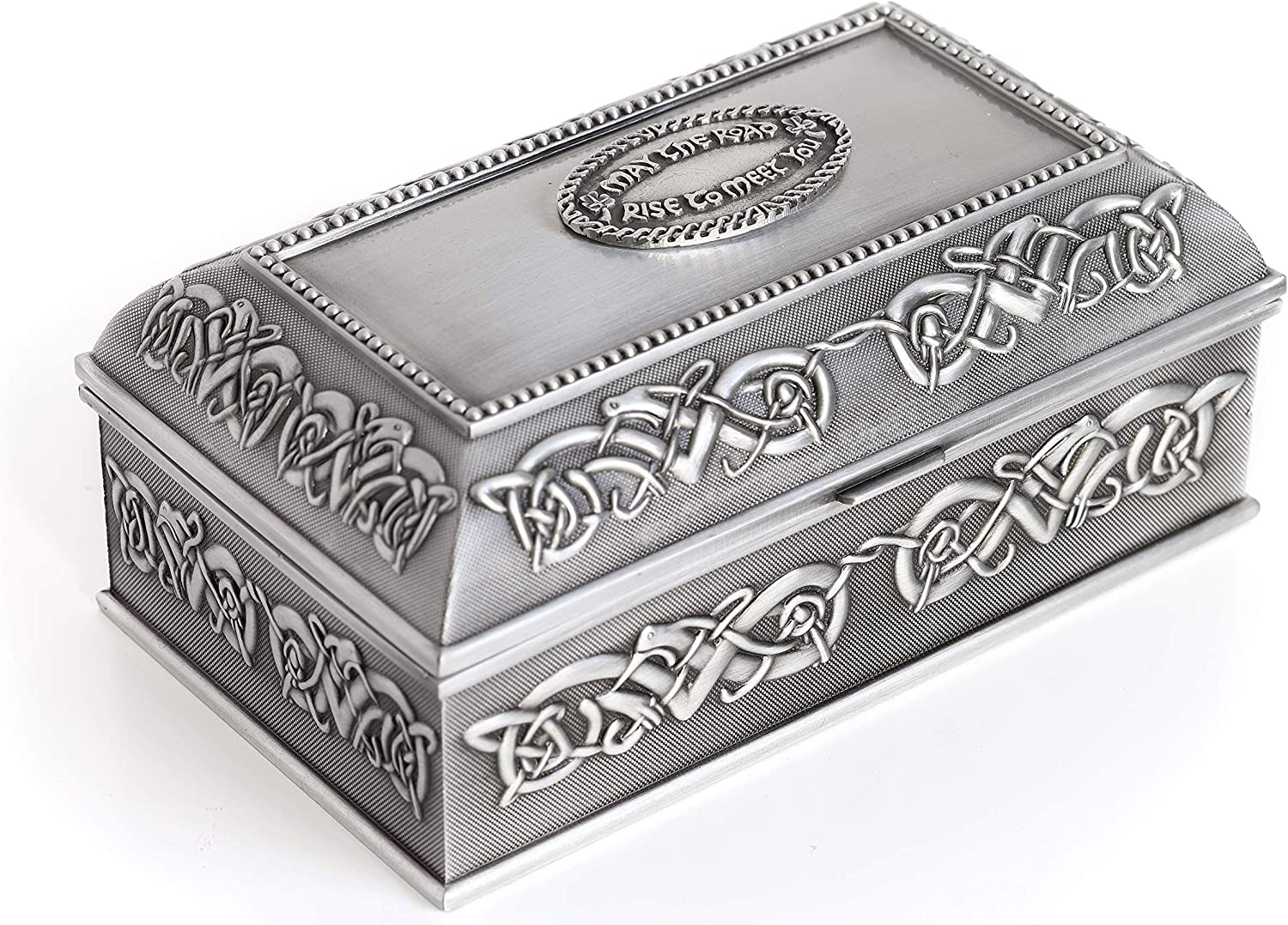 Amazon Com Biddy Murphy Irish Wedding Gift Celtic Jewelry Box Square Large May The Road Rise Irish Blessing Pewter Made In Ireland Home Kitchen