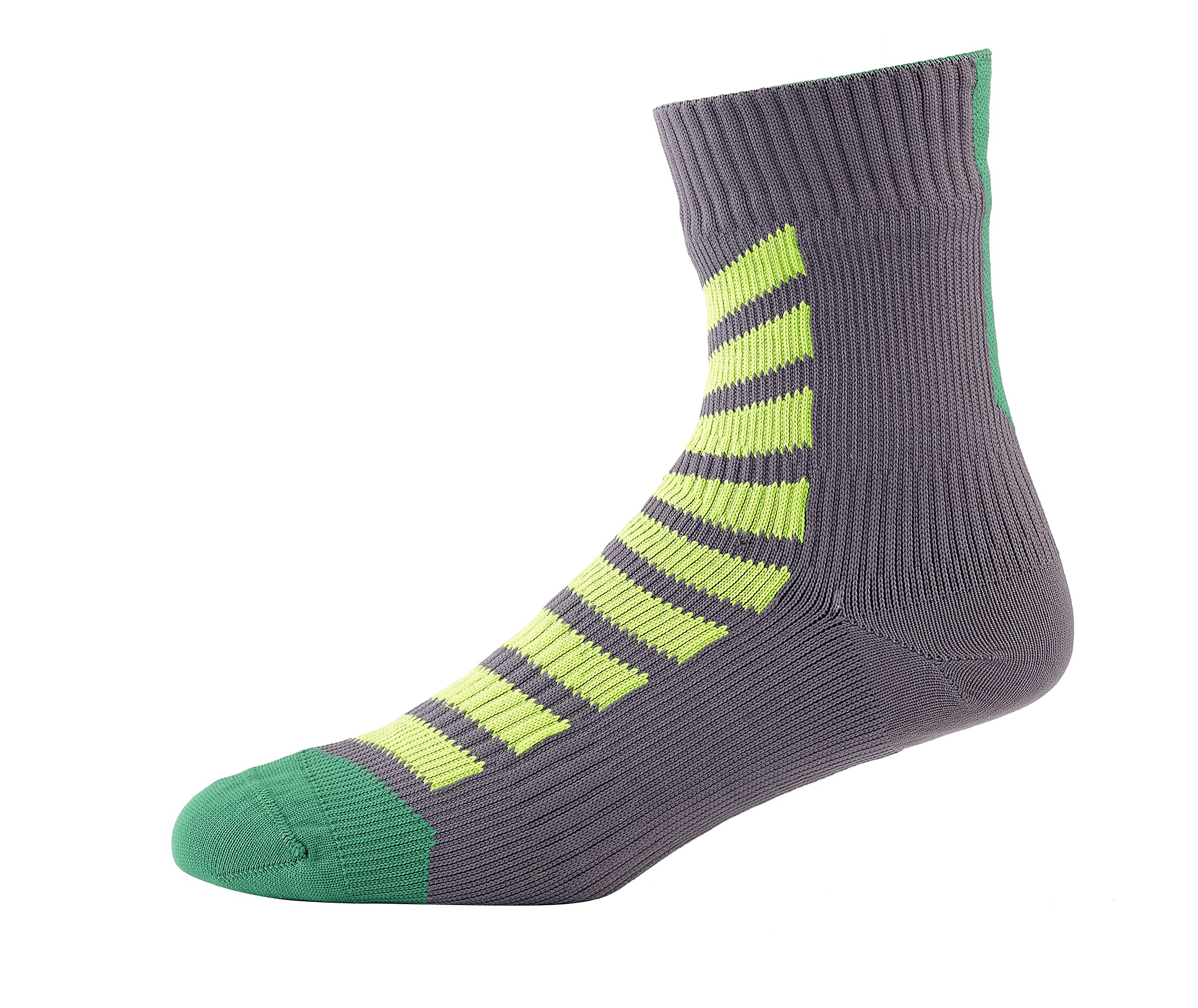 SEALSKINZ MTB Ankle Socks with Hydrostop, Small - Anthracite/Leaf/Lime. With a Helicase brand sock ring by SEALSKINZ
