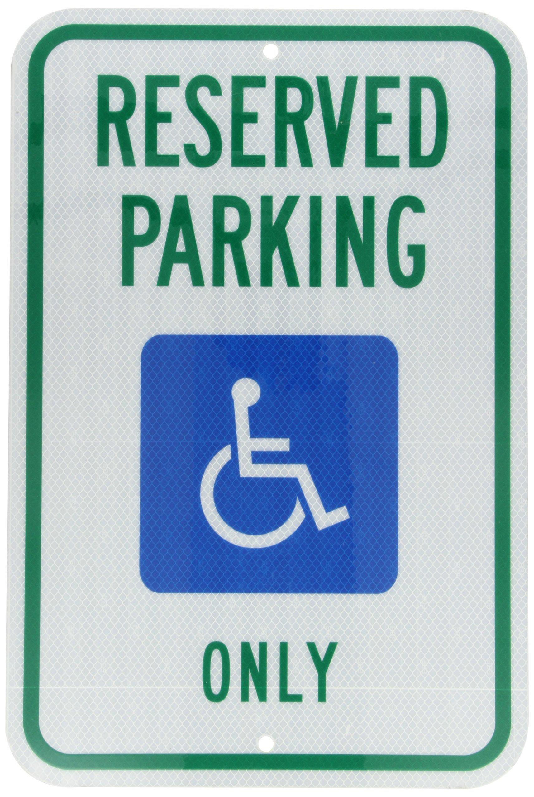Accuform FRA199RA Engineer-Grade Reflective Aluminum Handicapped Parking Sign (Michigan), Legend''Reserved Parking ONLY'' with Graphic, 18'' Length x 12'' Width x 0.080'' Thickness, Green/Blue on White