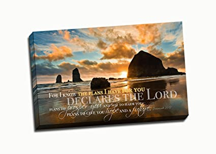 Amazon.com: Christian Wall Art Canvas - For I Know The Plans I Have ...