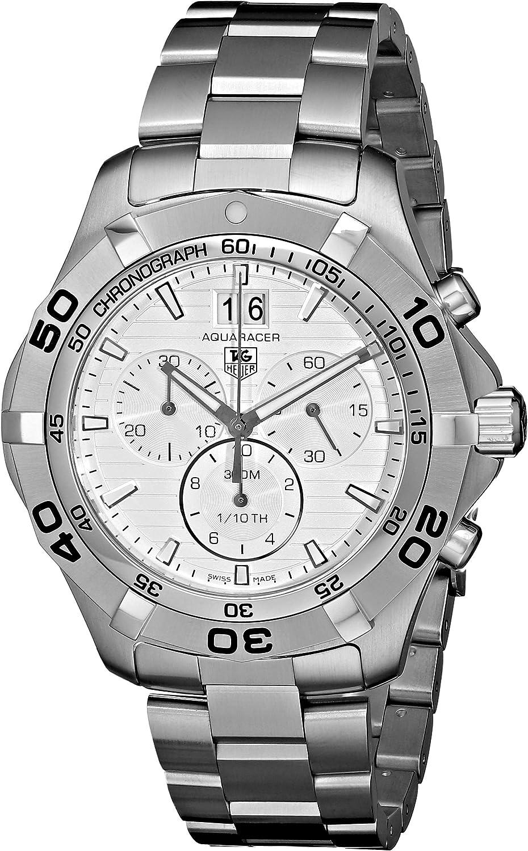 TAG Heuer Men s CAF101F.BA0821 Aquaracer Quartz Silver Chronograph Dial Watch