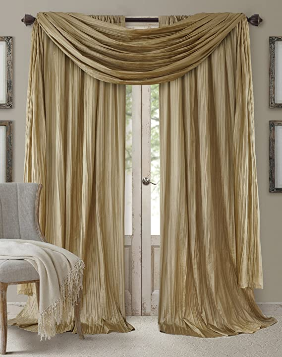 Elrene Home Fashions Venice Faux Silk Pair Of Rod Pocket Curtain Panels With Scarf Valance Set Of 3 Panel 52 X84 Gold 2 Panels 1 Scarf Amazon Ca Home Kitchen