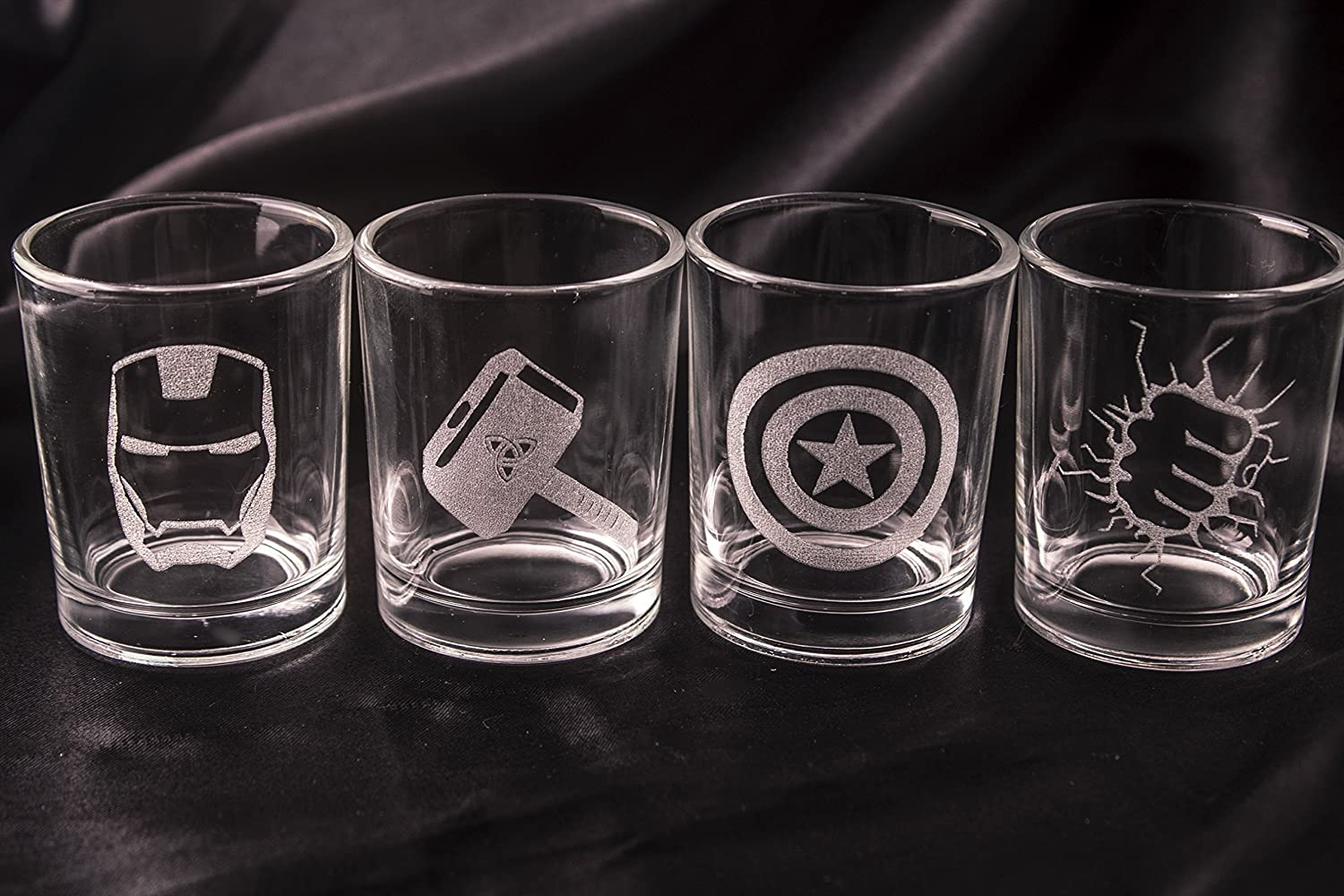 Avengers Shot Glasses - Set of 4 Avengers Logos