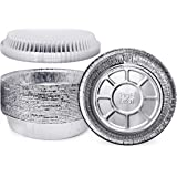 (60 Pack) Premium 7-Inch Round Foil Pans with Plastic Dome Lids l Heavy Duty l Disposable Aluminum Tin for Roasting…