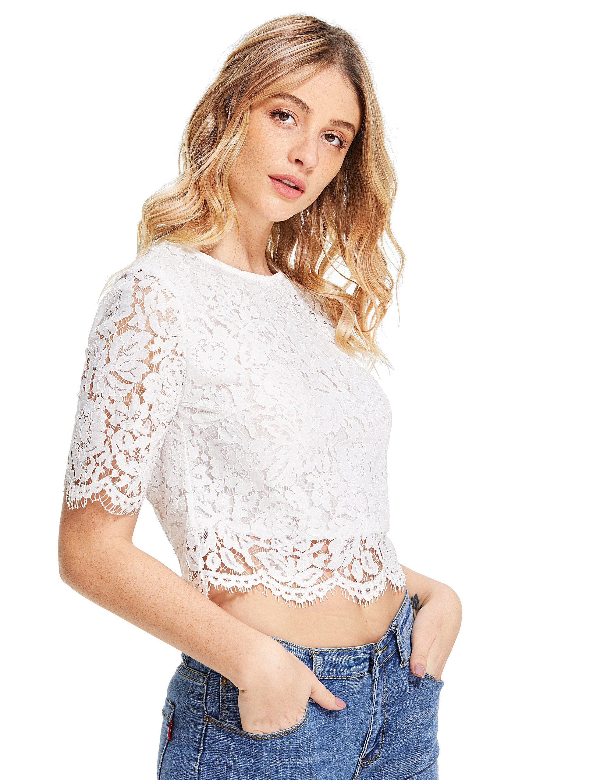 d7c50cf8cd MakeMeChic Women s Short Sleeve Sexy Sheer Blouse Mesh Lace Crop Top    Departments   Clothing