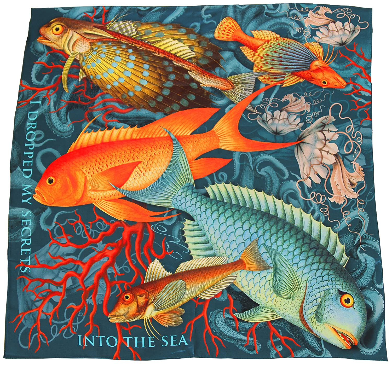 Pure silk square scarf grey Secrets   tropical fish, jellyfish, coral reef printed women's wrap