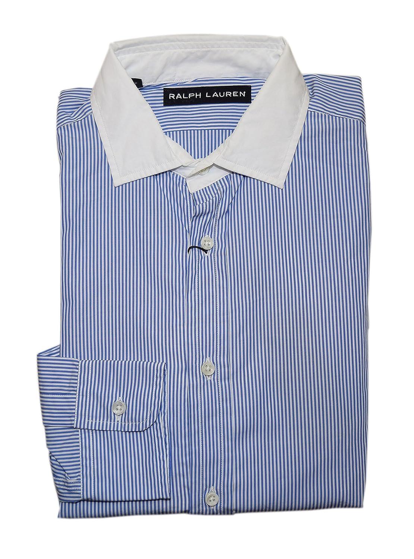 Ralph Lauren Polo Black Label Men Dress Shirt Contrast Blue White