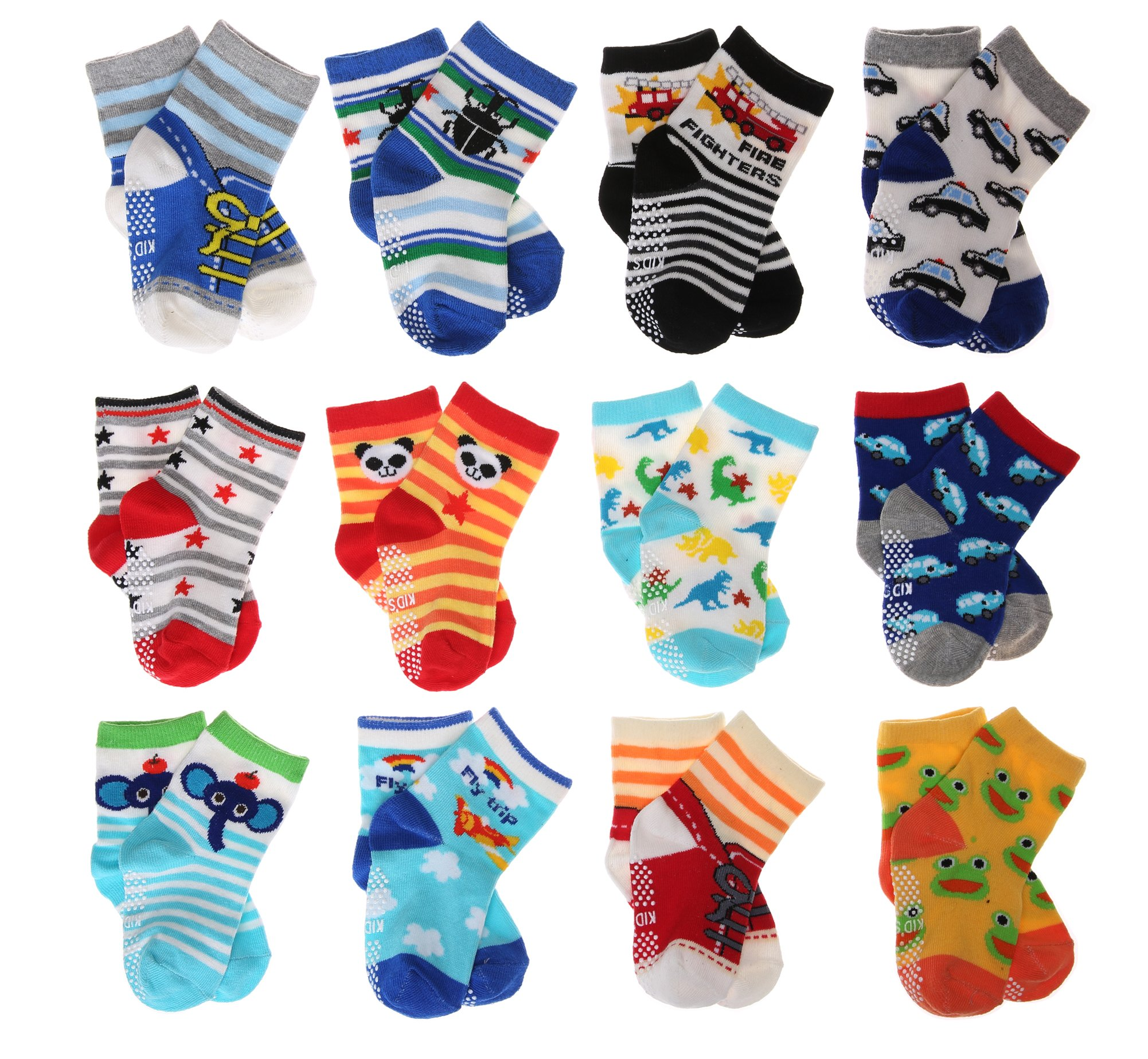 SDBING Baby's Boys Girls Toddler Cute 12-pair Thick Warm Cotton Socks (Anti-slip 1 to 3 Years Old)