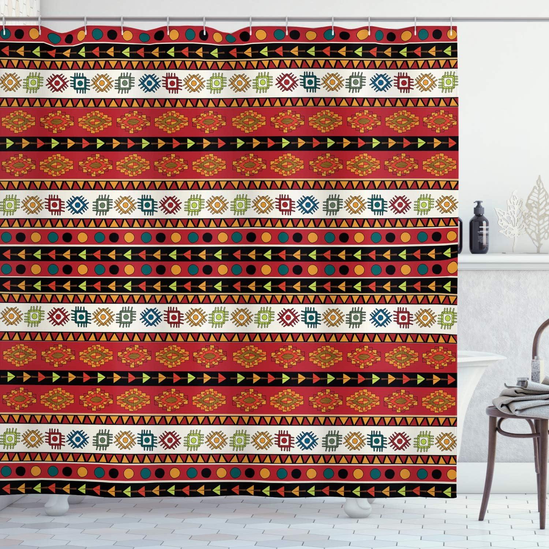 Vivid Fabric Shower Curtain Geometry Decor Set with Hooks 4 Sizes Ambesonne