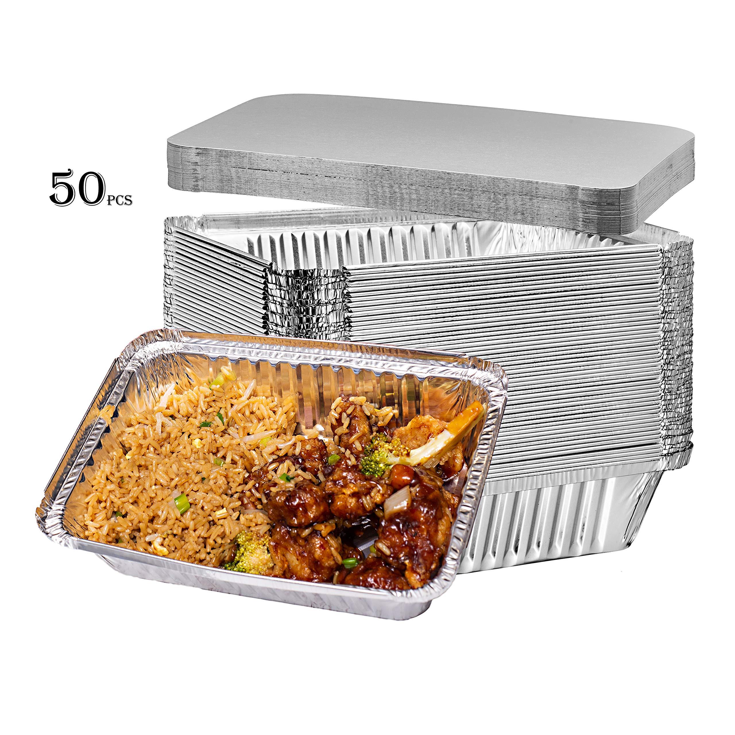 Elite Selection 2lb Aluminum Foil Pans - Reusable and Disposable Foil Pans - Stackable Foil Pans with Board Lids - Oven & Freezer Safe - 50 Piece Set (2LB Board Lids)