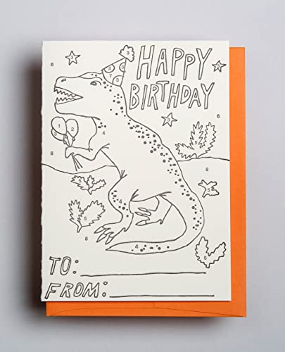 Amazon T Rex Color By Number Birthday Letterpress Kid