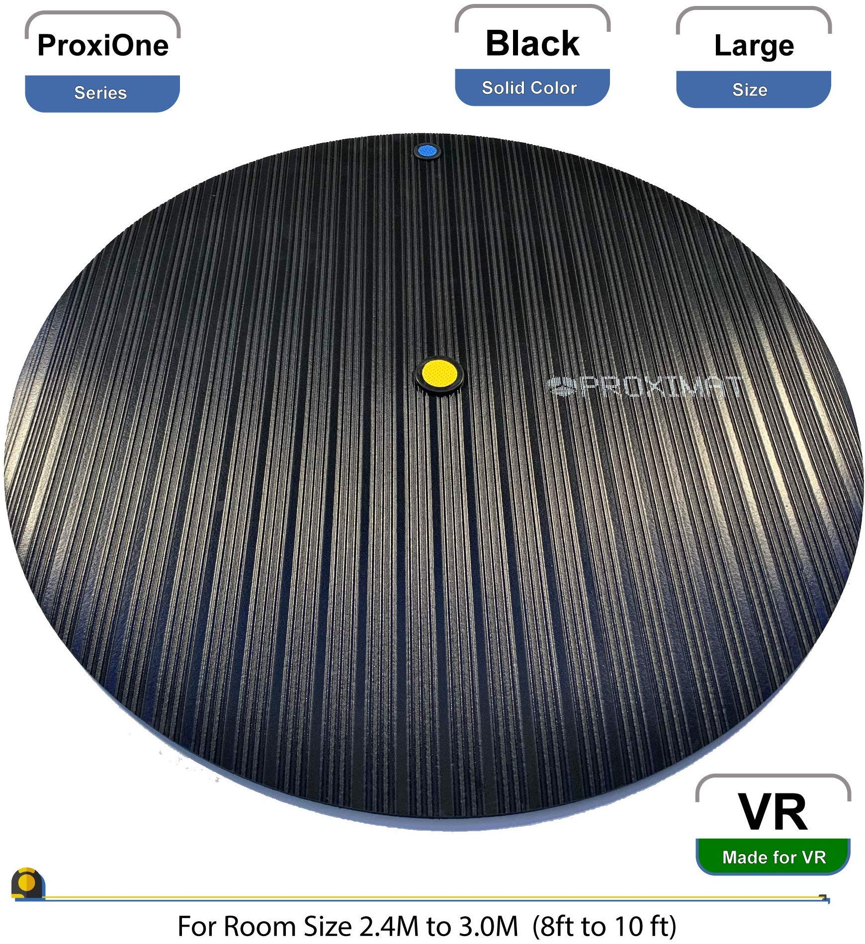 ProxiMat | ProxiOne | Black | Large | VR Virtual Reality Chaperone Safety Mat | 8' to 10' Room Scale | For HTC Vive, Oculus Rift Quest, Playstation PSVR, Pimax 5K 8K, Valve Index Headset by Proximat