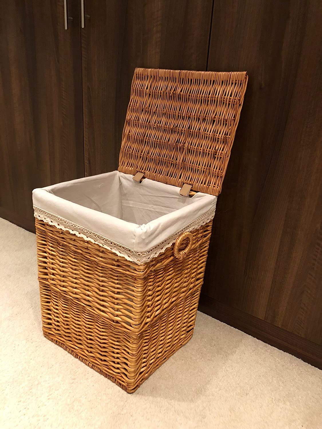 Light Brown Stylish Shabby Chic Rattan Wicker Laundry Baskets Storage Bedroom Medium Amazon Co Uk Kitchen Home