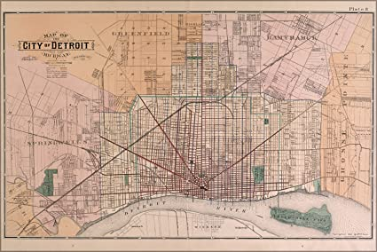 24x36 Poster; Map Of Detroit 1891; Antique Reprint on st louis on map, chicago map, michigan map, great lakes map, baltimore map, new york map, quebec map, duluth map, cincinnati map, pittsburgh map, usa map, henry ford hospital map, royal oak map, atlanta map, toronto map, memphis map, las vegas map, united states map, compton map, highland park map,