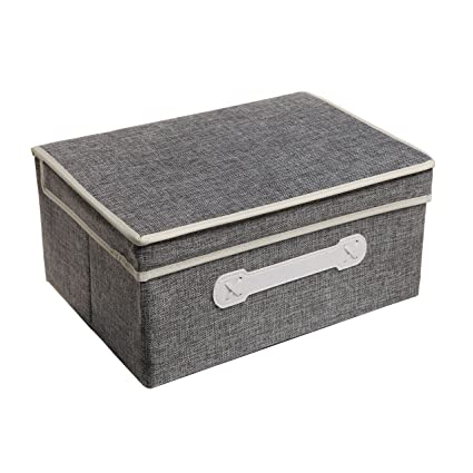 Decorative Gray Woven Collapsible Fabric Lidded Shelf Storage Bin / Closet Organizer Box Basket - MyGift  sc 1 st  Amazon.com & Amazon.com: Decorative Gray Woven Collapsible Fabric Lidded Shelf ...