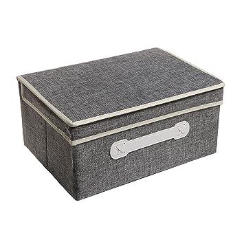 Decorative Gray Woven Collapsible Fabric Lidded Shelf Storage Bin / Closet  Organizer Box Basket   MyGift