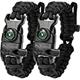 A2S Protection Paracord Bracelet K2-Peak – Survival Gear Kit with Embedded Compass, Fire Starter, Emergency Knife…