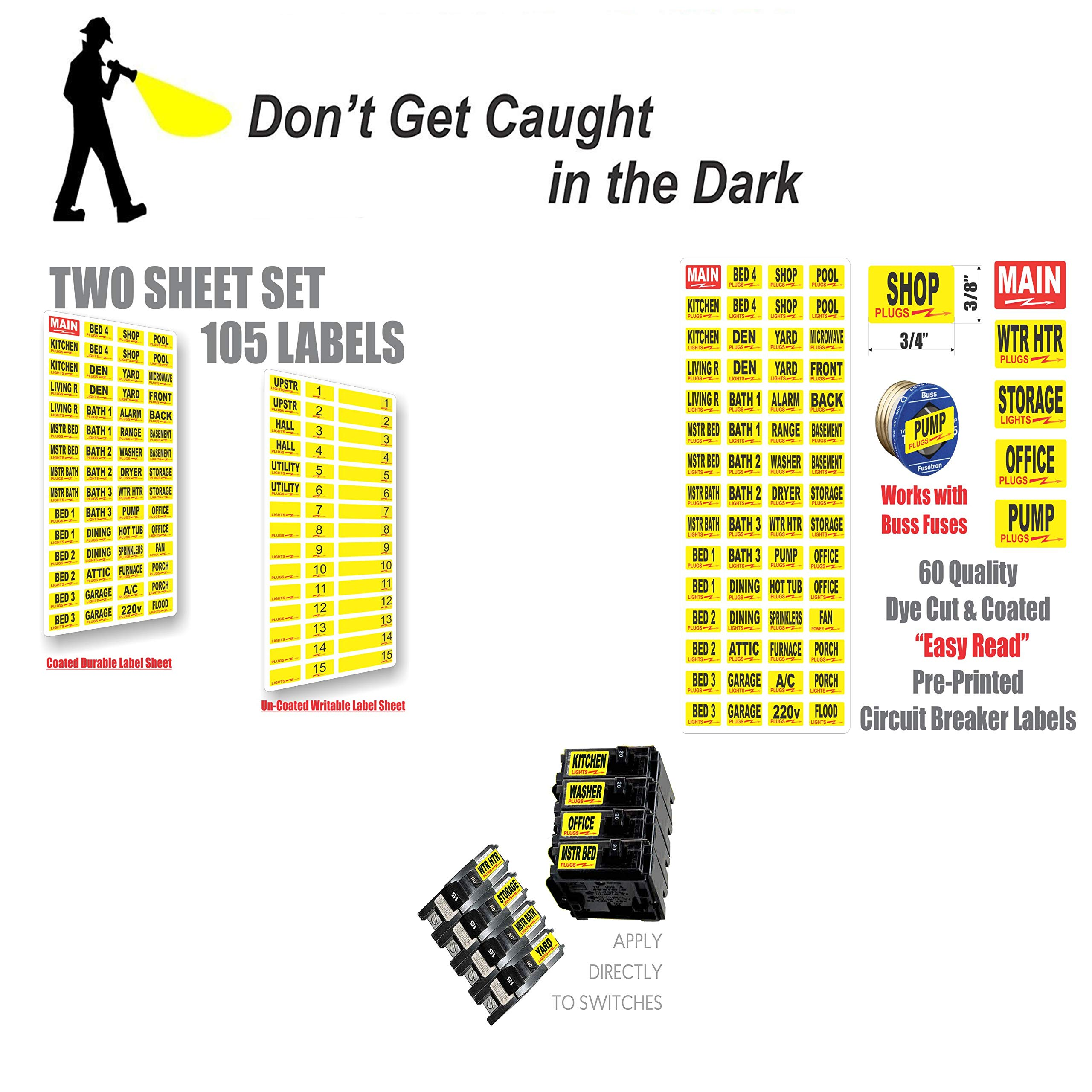 Circuit Breaker ID Tags plus Bonus Chrome Socket Labels for tool organizing, great for Home Owners, Apartments & Electricians, Decals fit all Breaker Panels & Switches, applies directly to the breaker by Steellabels (Image #4)