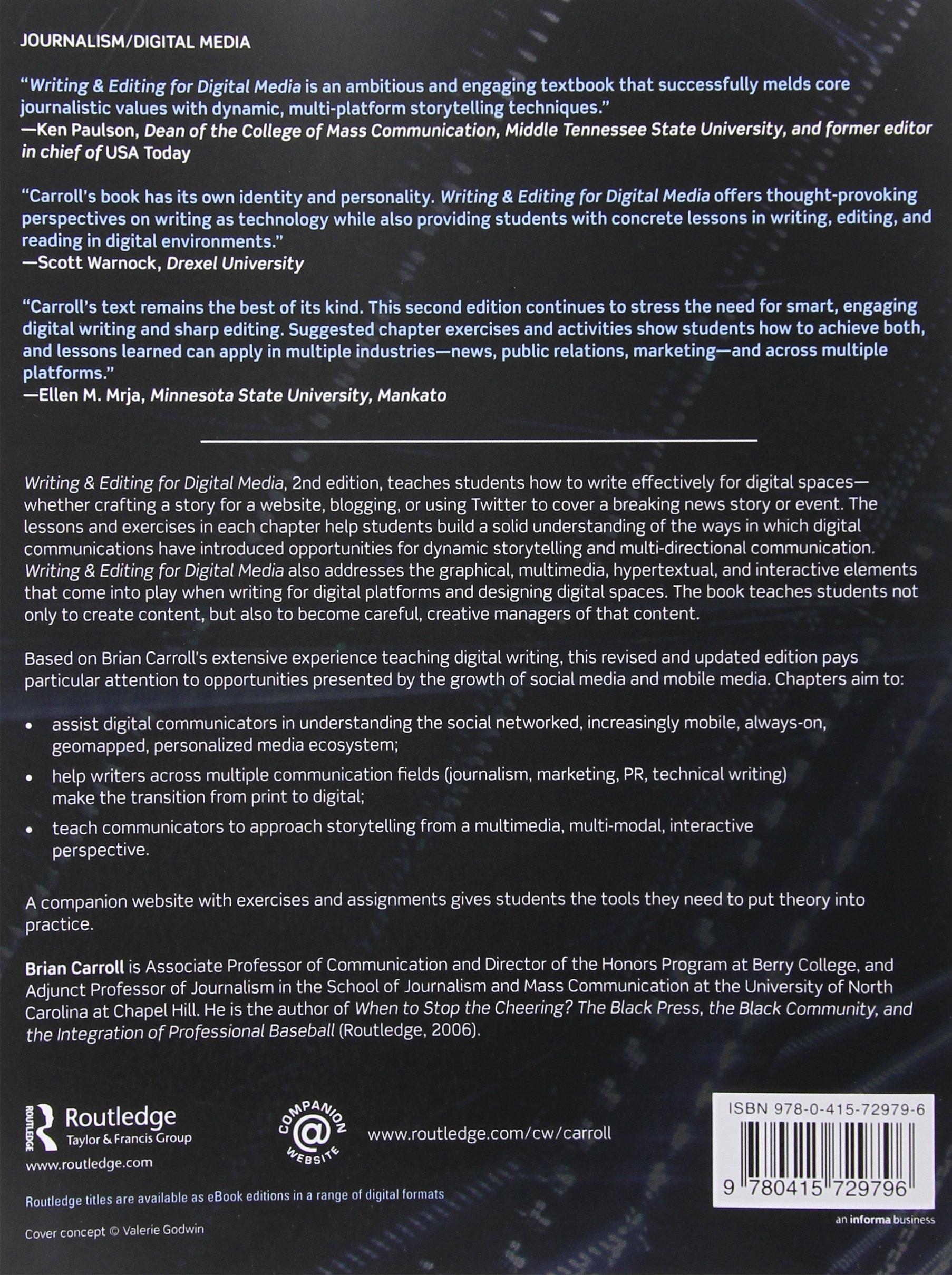 Writing and Editing for Digital Media: Amazon.co.uk: Brian Carroll:  9780415729796: Books