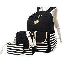女孩学生背包,Gazigo 女式高中大学书包笔记本电脑包 黑色 One_Size