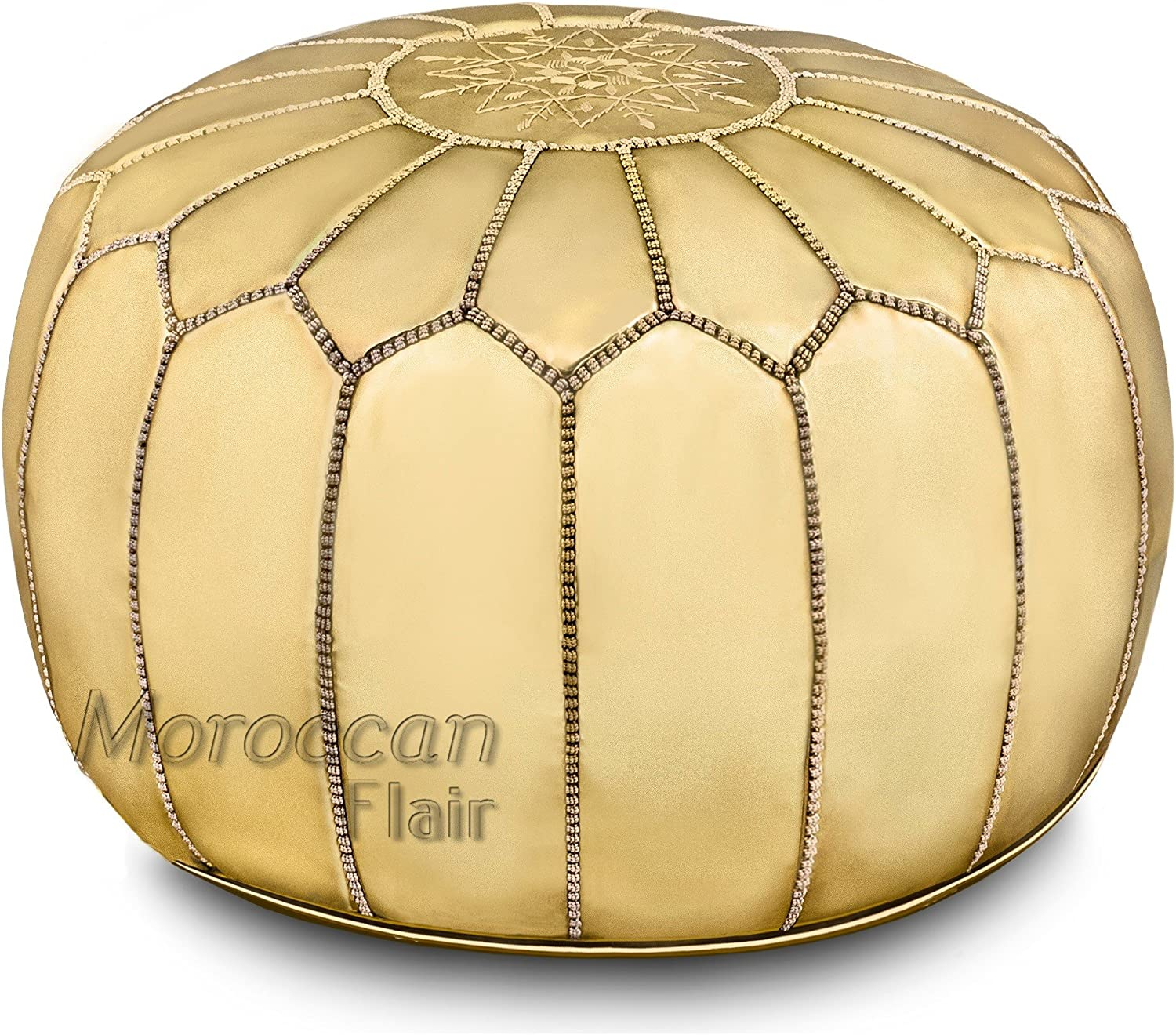 "Moroccan Flair | Genuine Handmade Moroccan Metallic Pouf | Bedroom & Living Room Round Ottoman | Premium Italian Ski Leather | Eco-Friendly Materials | 20"" x 20"" x 14"" 