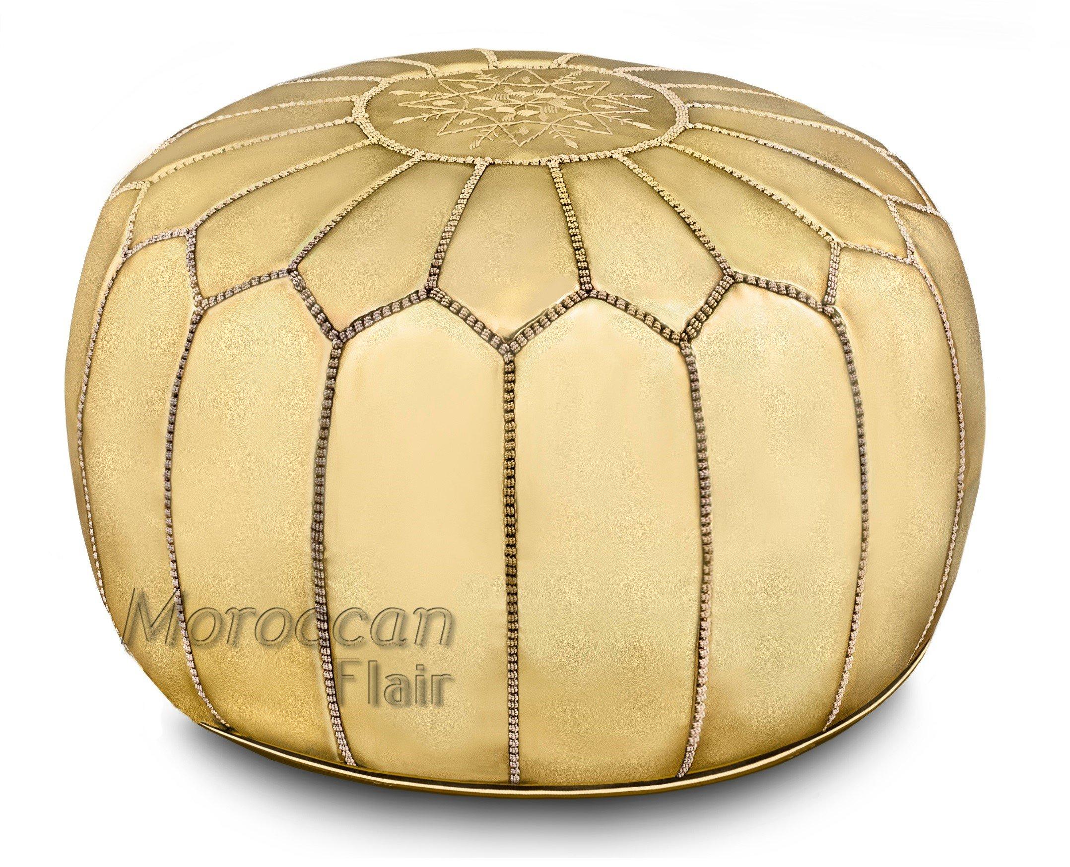 Stuffed Handmade Metallic Leather Moroccan Pouf, Ottoman (Gold Metallic)