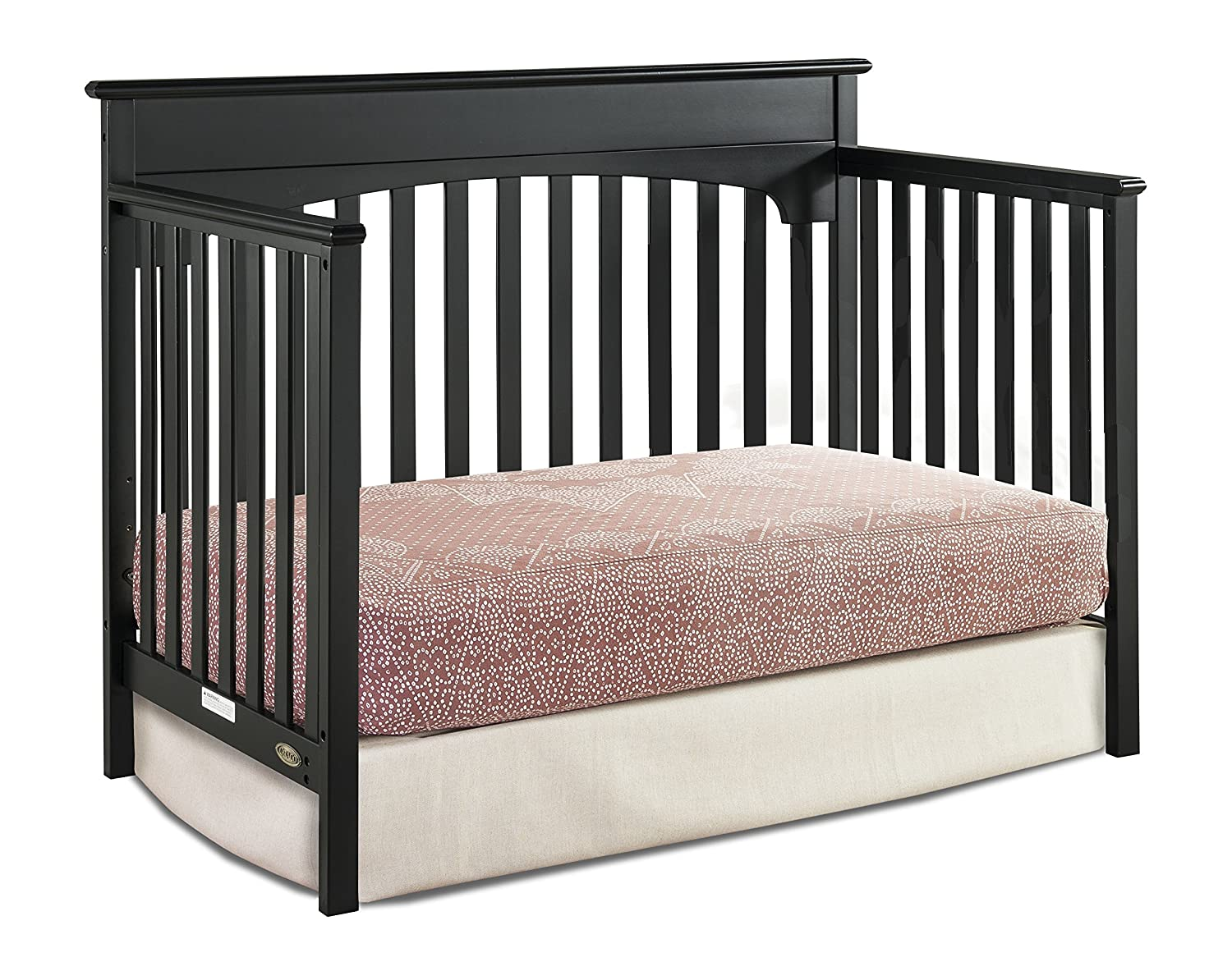 Amazon.com : Graco Lauren 4-in-1 Convertible Crib, Black, Easily Converts to Toddler Bed, Day Bed or Full Bed, 3 Position Adjustable Height Mattress ...