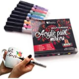 Permanent Paint Markers for Glass painting, Ceramic, Porcelain, Metal, Wood, Fabric, Canvas. Best Choice for Custom Mug design, Wood signs, DIY projects. Set of 8 Acrylic Marker pens, Medium point