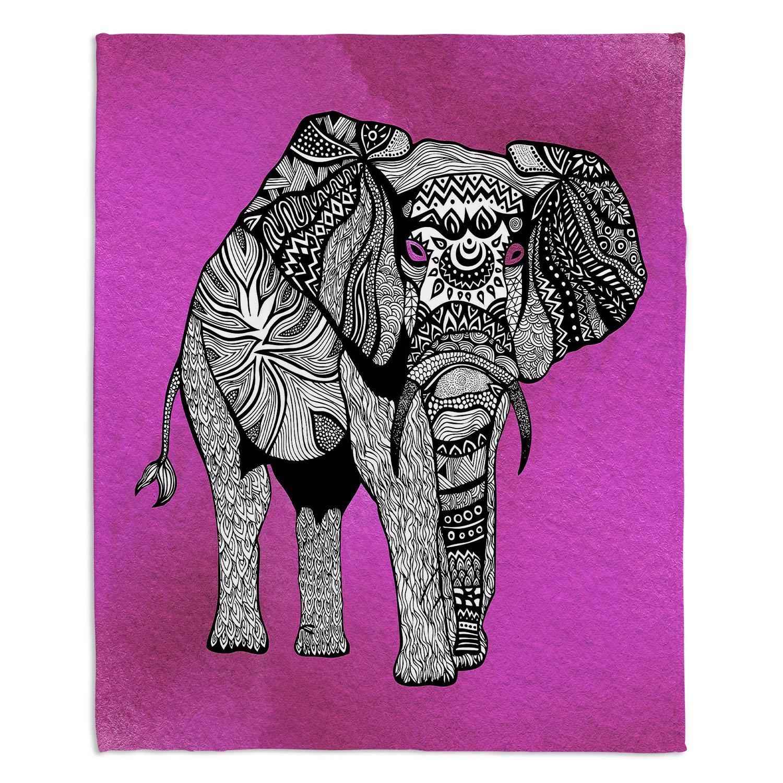 ブランケットウルトラソフトFuzzy 4サイズホーム装飾寝室ソファスローブランケットダイアノウチェデザインズ – Artist Pomグラフィックデザイン – One Tribal Elephantピンク Medium 60