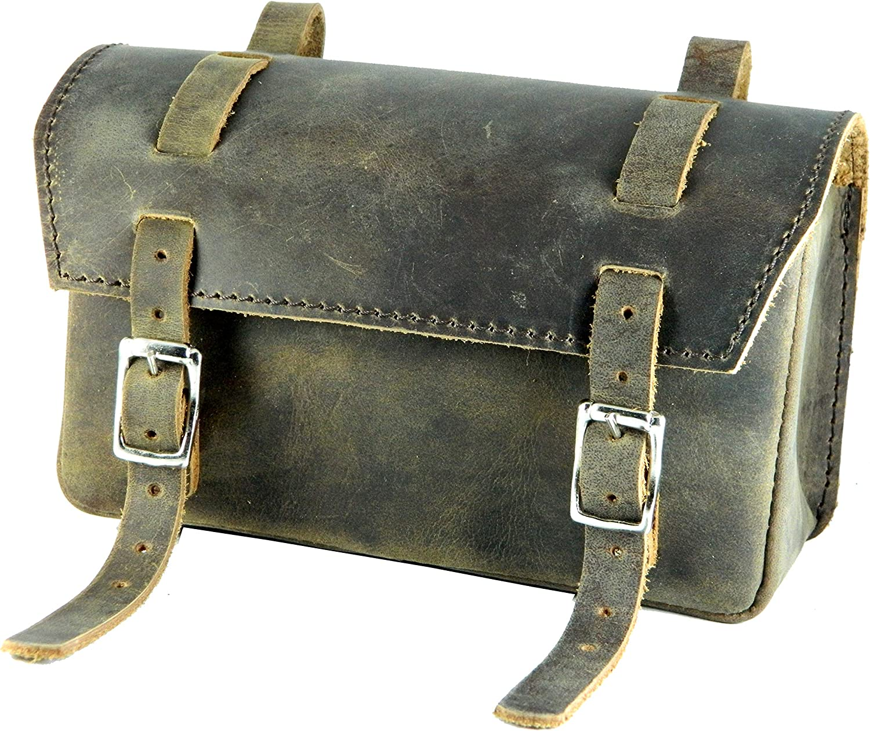 Geniune Leather Bag Bicycle Saddle Handlebar Frame VINTAGE BROWN box-raw-waxed
