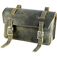 Genuine Leather Bicycle Saddle Bag classic Vintage handlebar bike tool full real grain