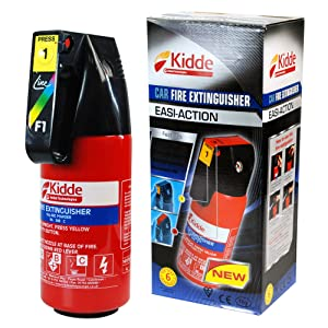 Kidde 1KG Fire Extinguisher Easi-Action Safety EN3 Fire Rating 8A 34BC Suitable for use in the Home & Car. Safely extinguishes wood, paper, cloth, plastic, flammable liquids, petrol & gaseous fires.