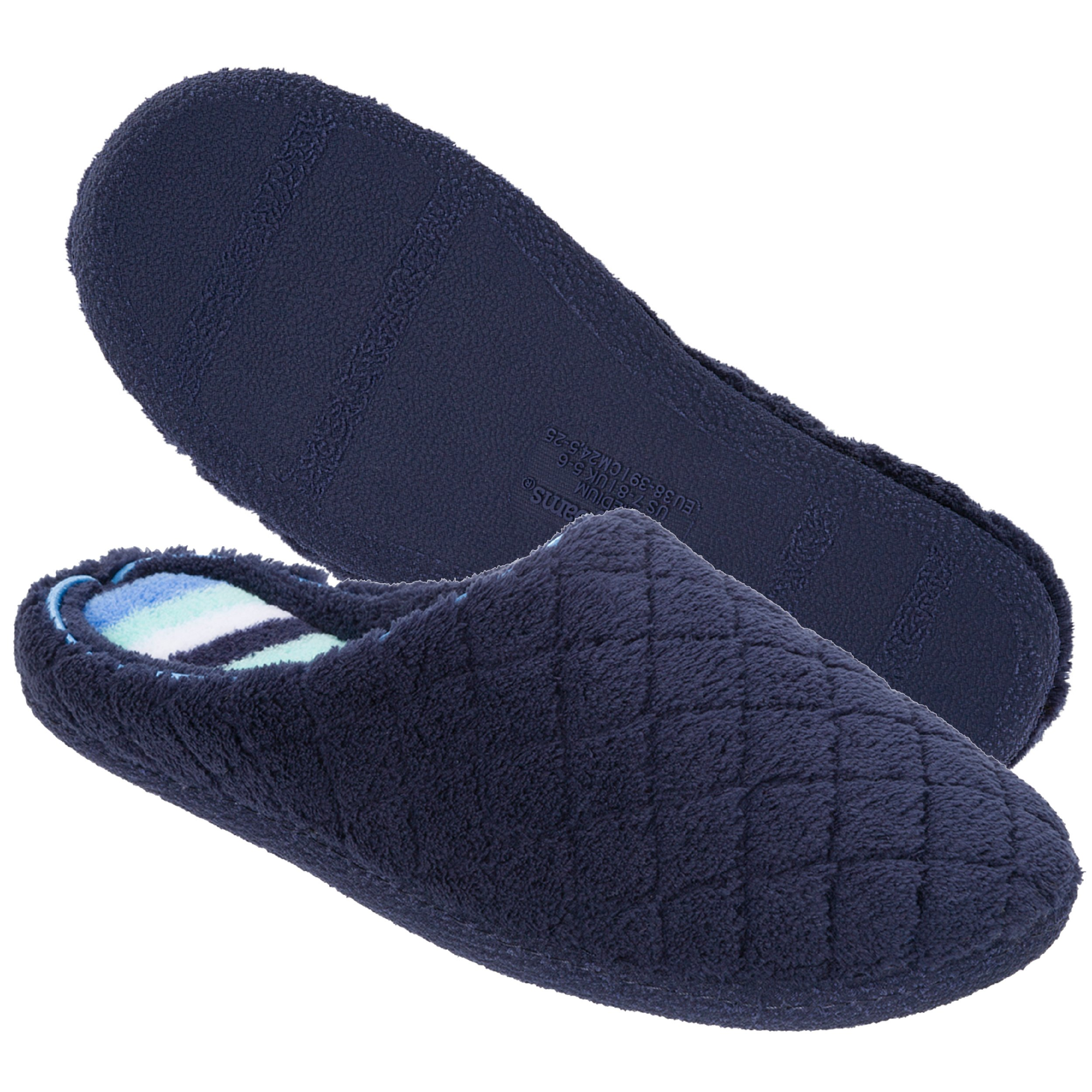 Dearfoams Women's Quilted Terry Clog Mule Slipper – Padded Terrycloth Slip-ONS with Skid-Resistant Rubber Outsole, Peacoat, Medium/7-8 M US