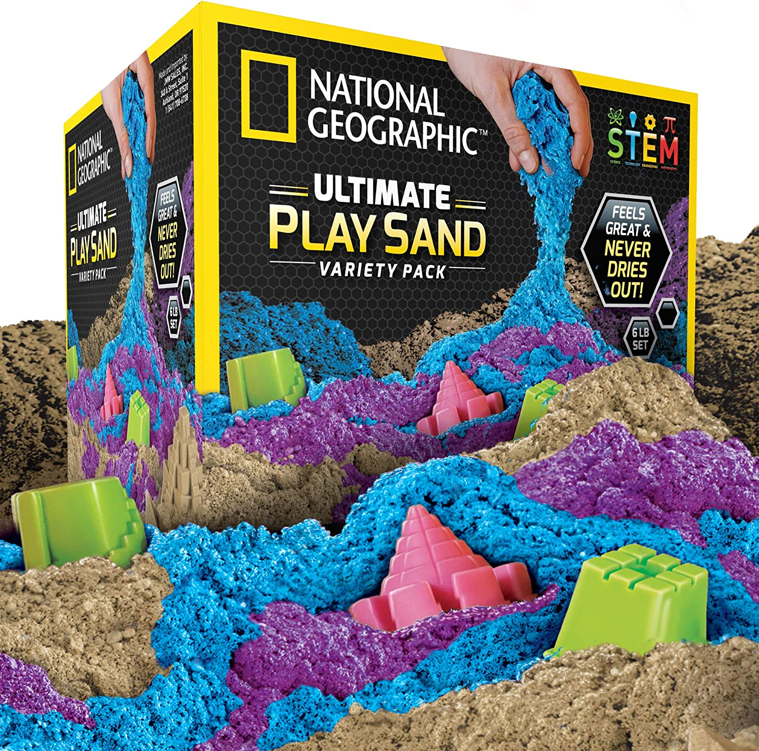 NATIONAL GEOGRAPHIC Play Sand Combo Pack - 2 LBS each of Blue, Purple and Natural Sand with Castle Molds - A Kinetic Sensory Activity